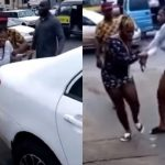 Lady Runs Mad After Dropping Out Of A Benz Car (Video)